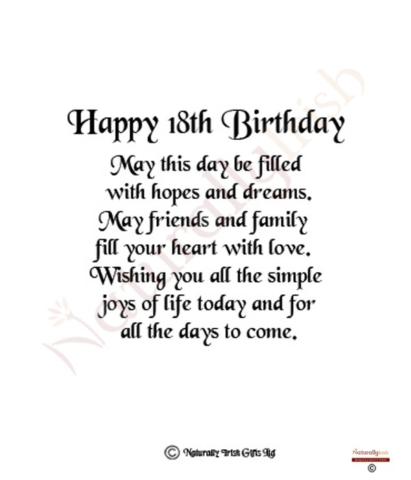 Birthday Quotes For Friend Turning 18 Th birthday wishes page – 18th Birthday Card Verses